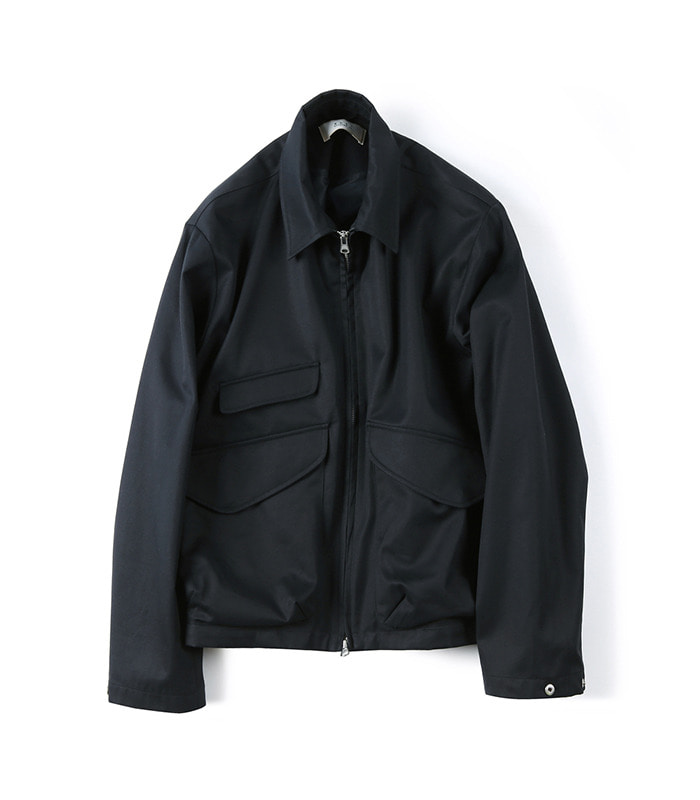 셔터 GABARDINE COTTON ZIP-UP JACKET (Navy)