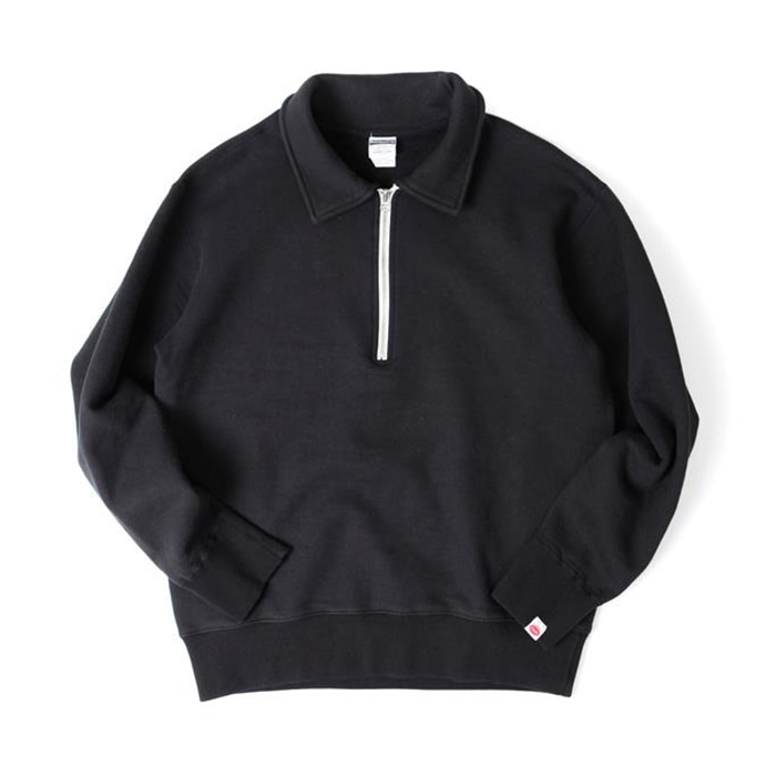 [아웃스탠딩] HALF ZIP NECK SWEAT SHIRT_Black