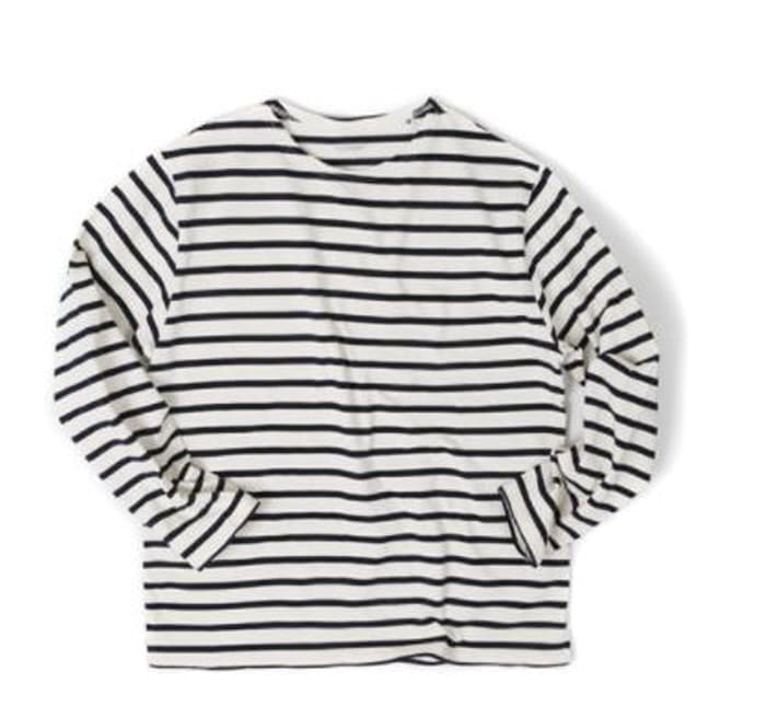 아웃스탠딩 BOAT NECK LONG SLEEVE [IVORY/BLACK]