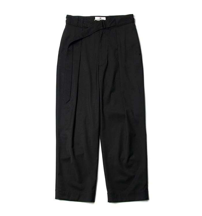 비헤비어 BELTED WIDE PANTS_BLACK