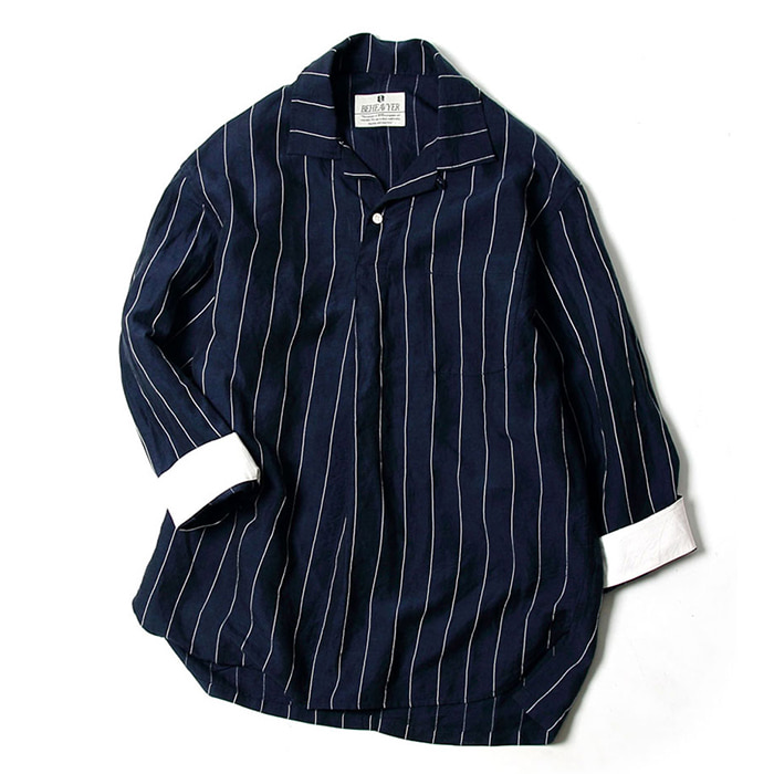 비헤비어 MARINE SHIRTS_NAVY STRIPE