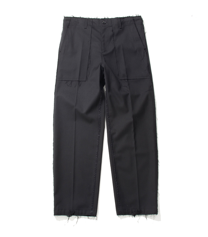 가쿠로 FATIGUE PANTS Double cloth wool (Black)