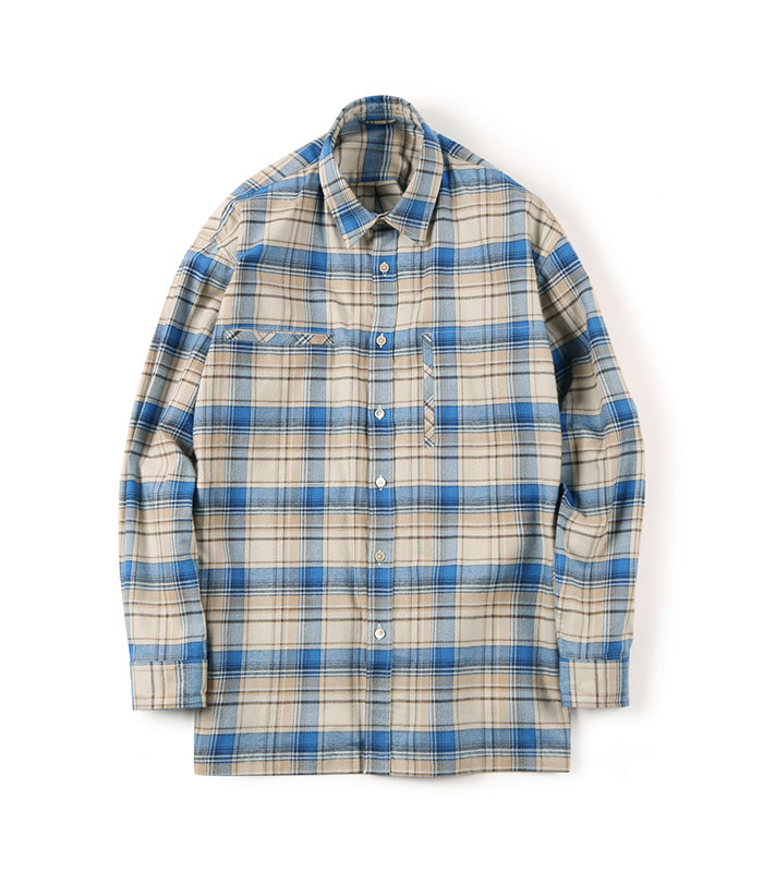 셔터 FLANNEL OVER BOX (Check Blue)
