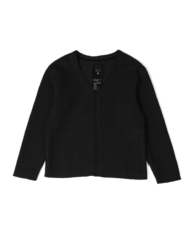 오파츠 Fleece cut-off cardigan (Black)