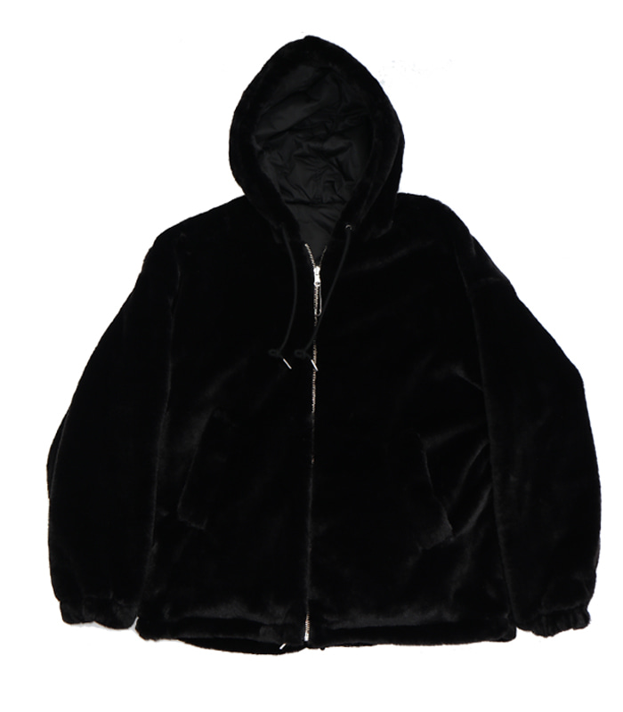 가쿠로 Reversible fake fur parka (Black/Black)