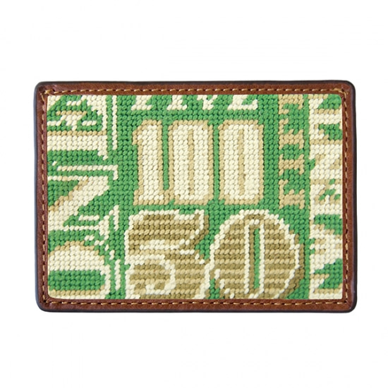 SMATHERS&BRANSON Cash Money Needlepoint Card Wallet