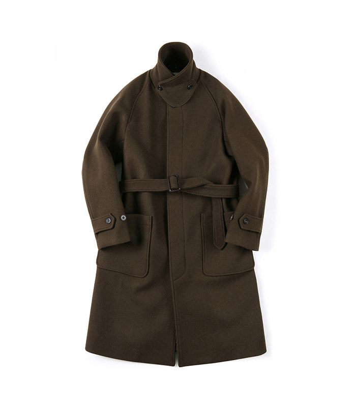 셔터 BELTED SOUTIEN WOOL COAT (Dark brown)