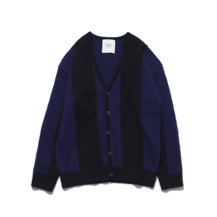 [가쿠로] MOHAIR CARDIGAN (BLACK/PURPLE)