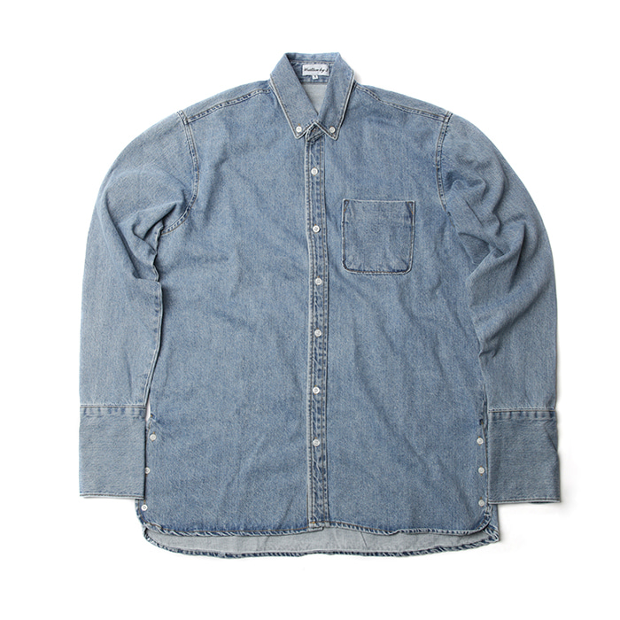 [WB3] Long cuffs denim shirts (Sky blue)