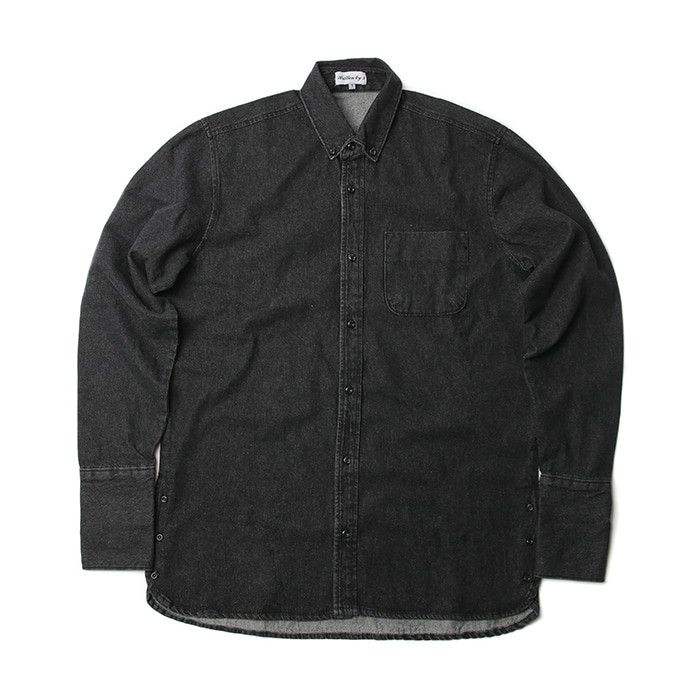 [WB3] Long cuffs denim shirts (Black)