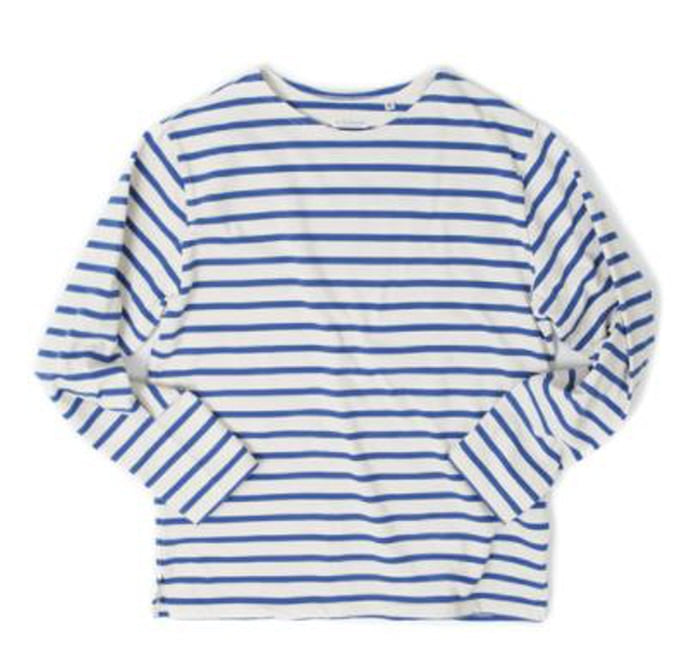 아웃스탠딩 BOAT NECK LONG SLEEVE [IVORY/BLUE]