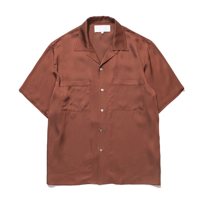 가쿠로 OPEN COLLAR SHIRT VISCOSE_SCARLET