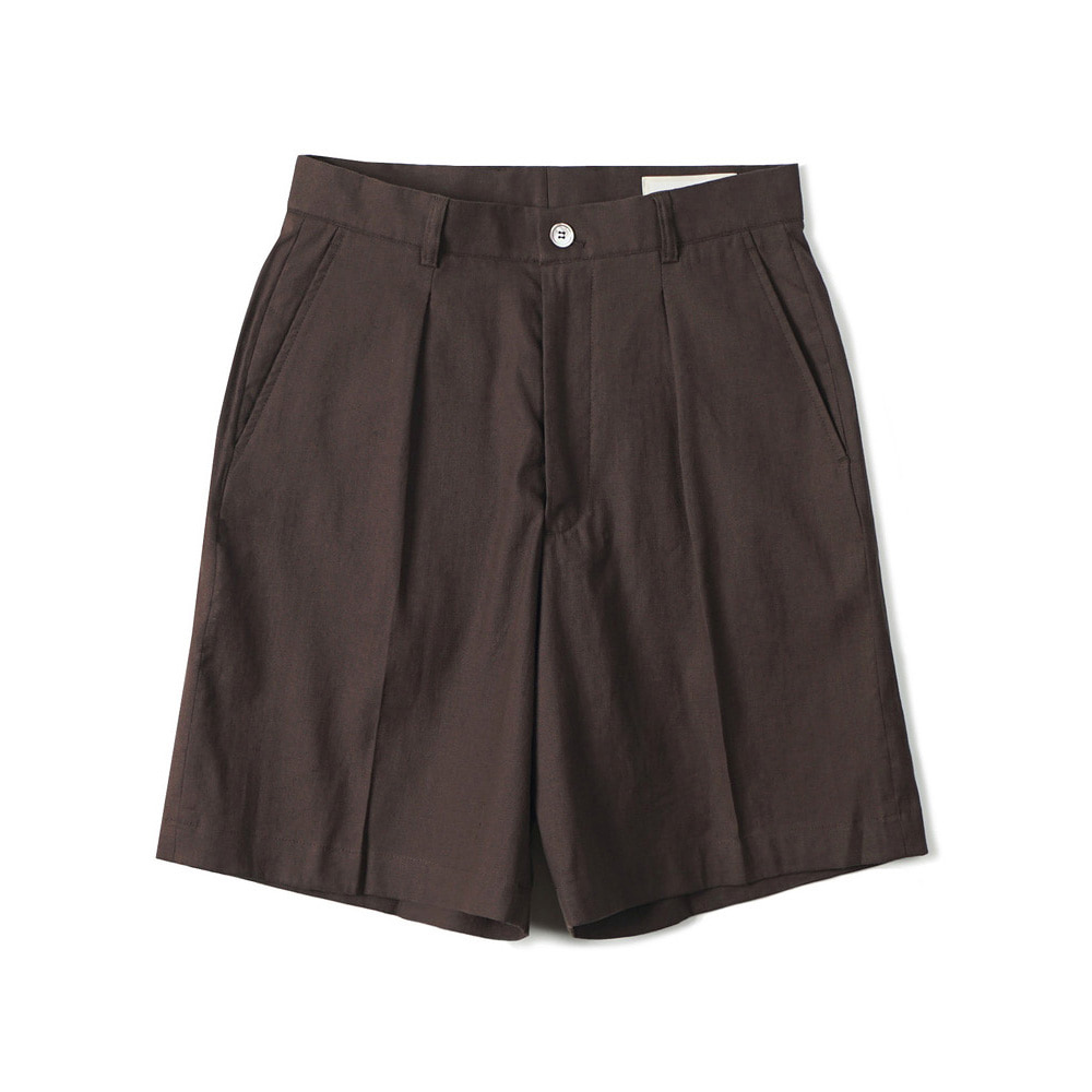 셔터 ONE PLEATED WIDE SHORTS_DARKBROWN