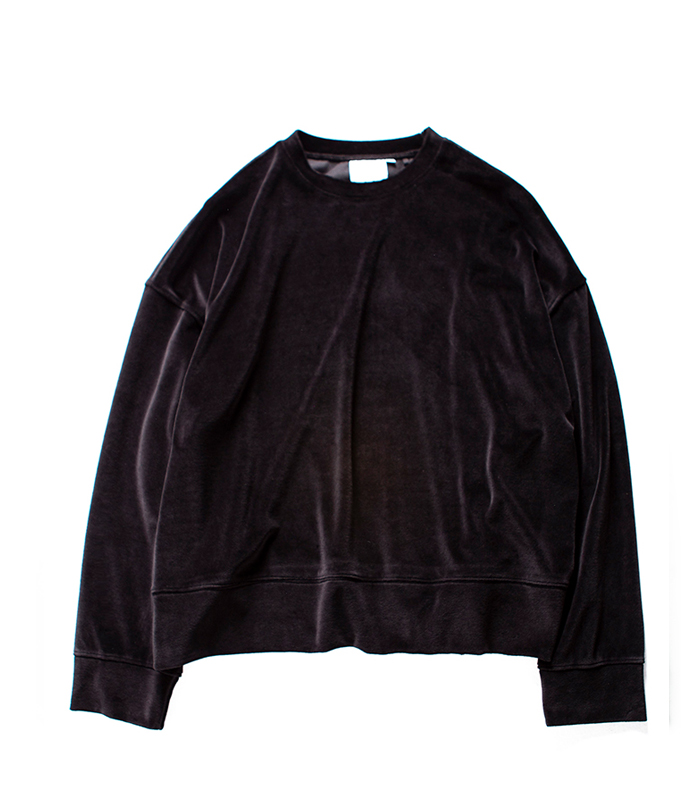 브라운야드 Wide Velour Pullover_Black