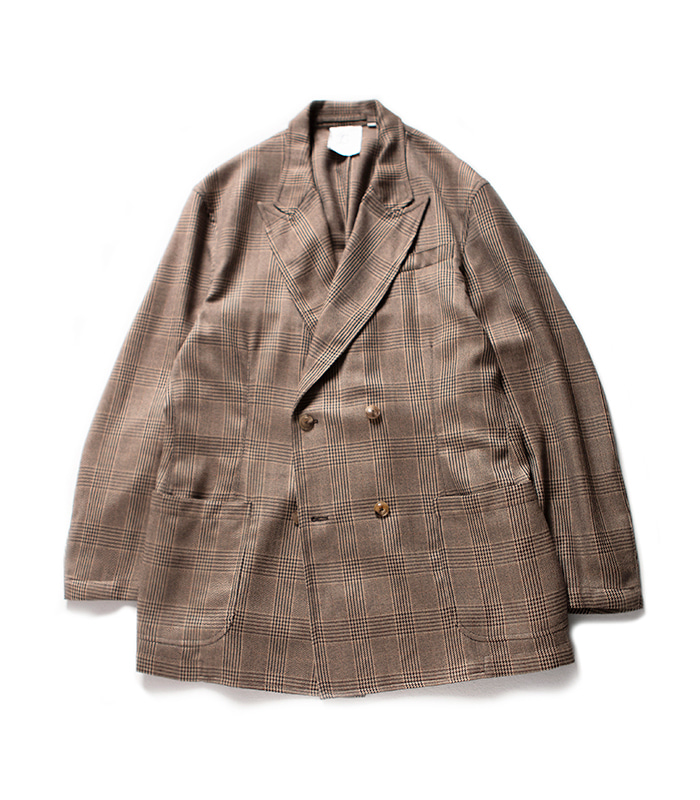 브라운야드 Double Breasted Jacket_Brown Check
