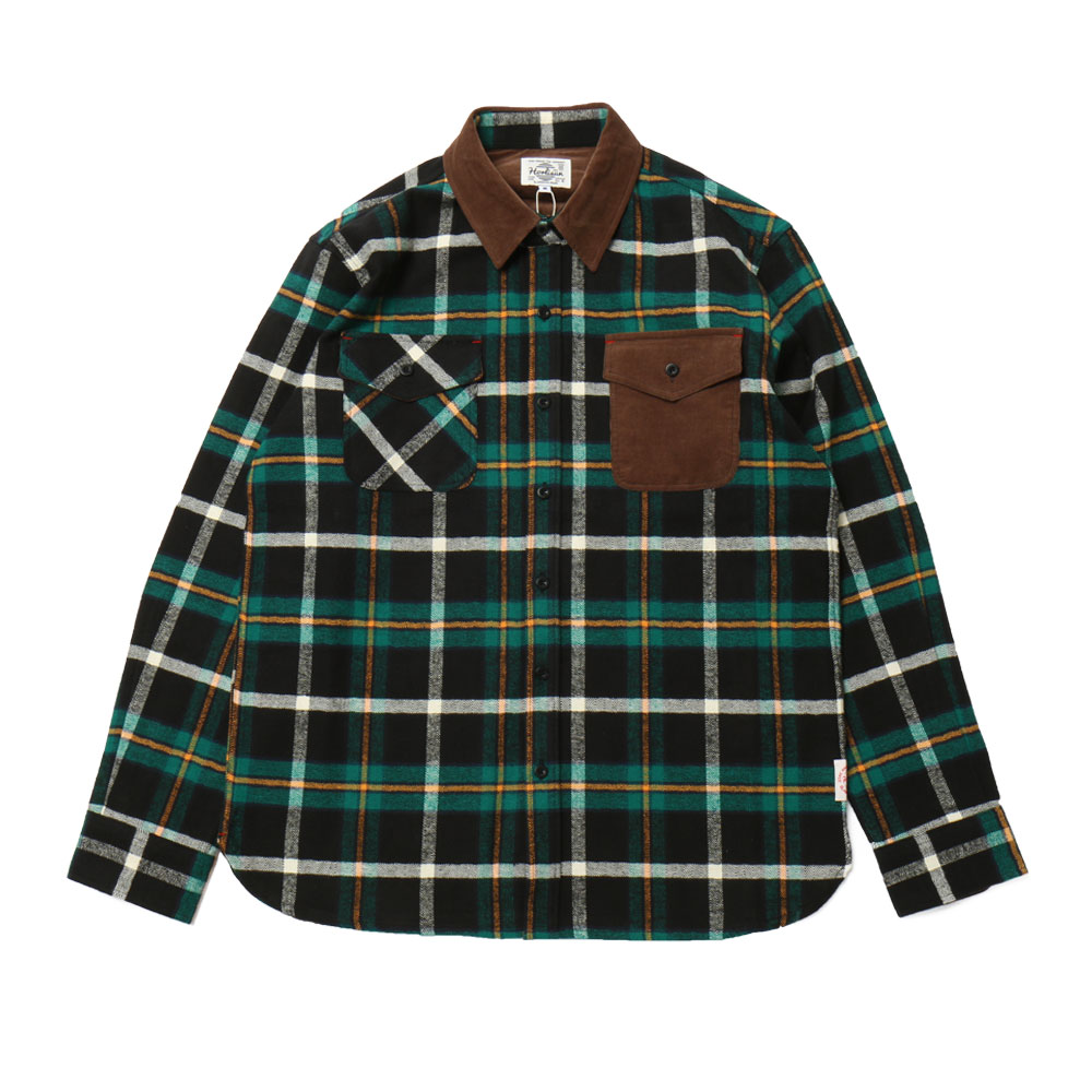 홀리선 Fariview Cotton Corduroy Flannel Check Shirts_Green Black