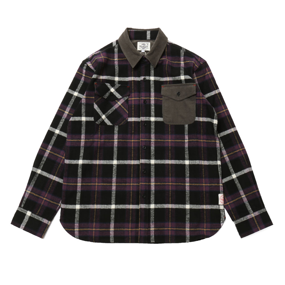 홀리선 Fariview Cotton Corduroy Flannel Check Shirts_Purple Black