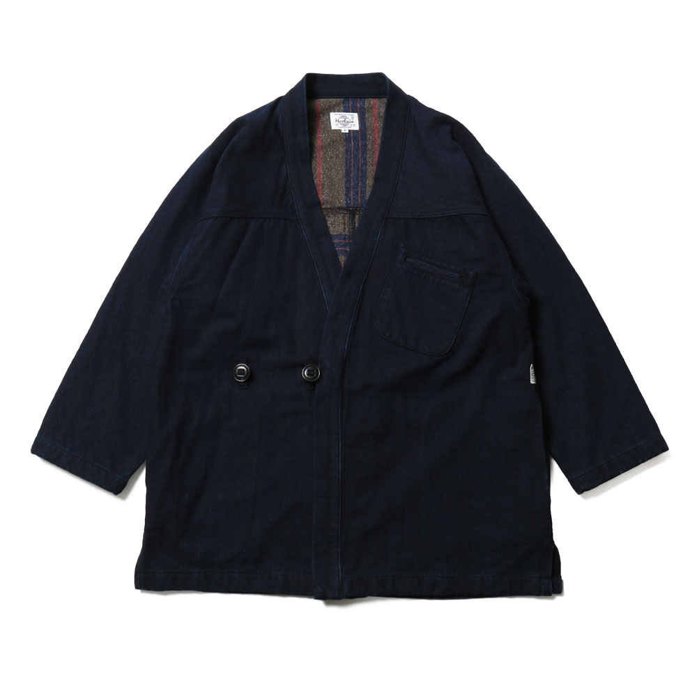 홀리선 Dover OG Blanket Lined Denim Robe Button Jacket_Indigo Navy