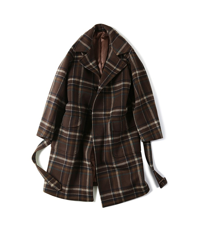 셔터 BELTED WOOL CHECK COAT_Brown