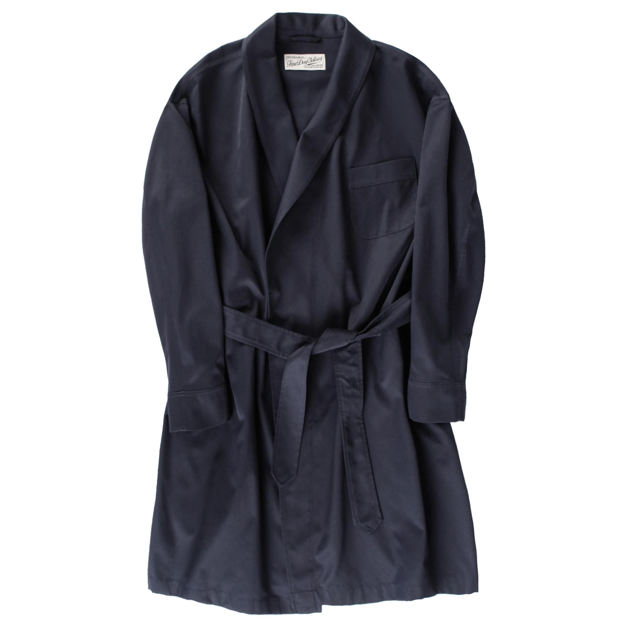 Fineday Clothing Shawl collar robe coat_Navy