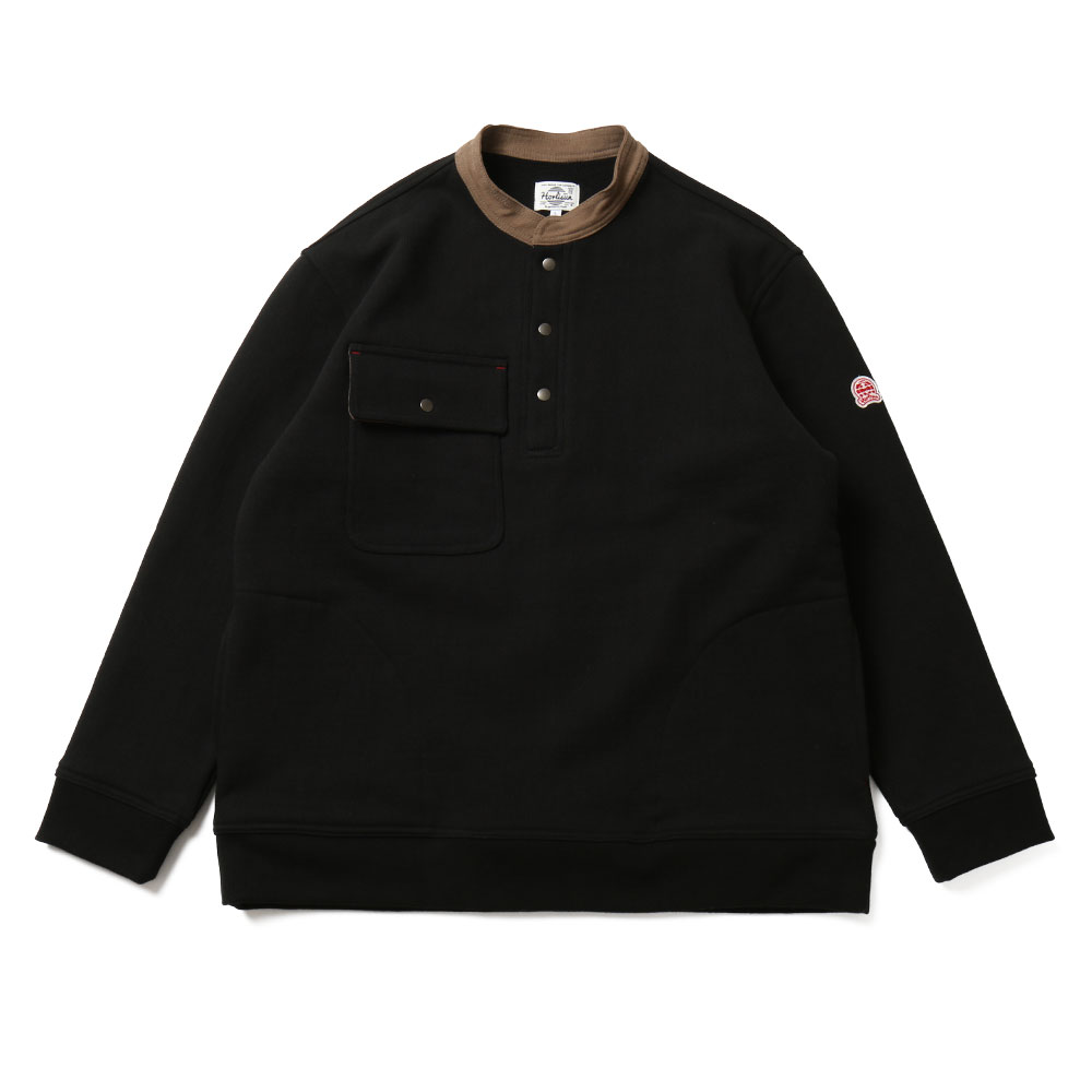 홀리선 Forest Collar Button Heavy Cotton Pullover_Black