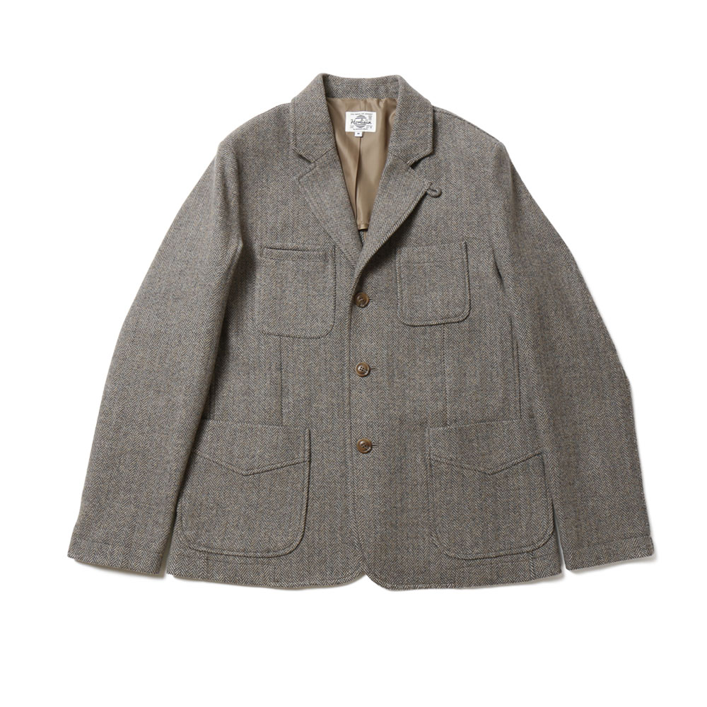 홀리선 Austin Color Tweed Herringbone Wool Jacket_Melange Gray