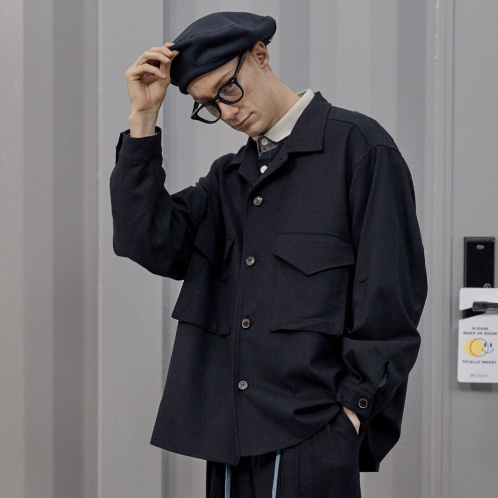 데일리인 LOBBY BOY B.D.U TR WOOL OVERSIZED SET-UP JACKET_Navy