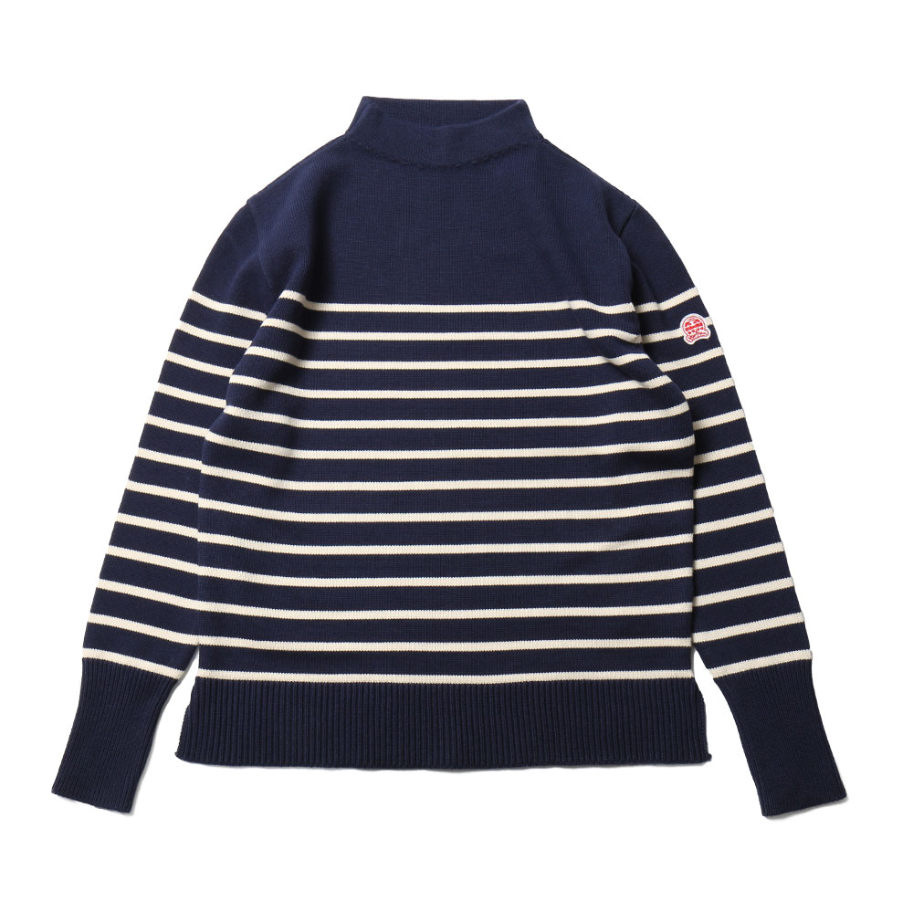홀리선 Tedburn Mock Neck Stripe Slit Knit_Navy