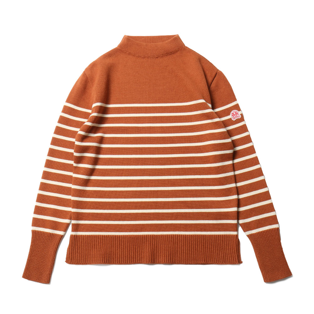 홀리선 Tedburn Mock Neck Stripe Slit Knit_Orange