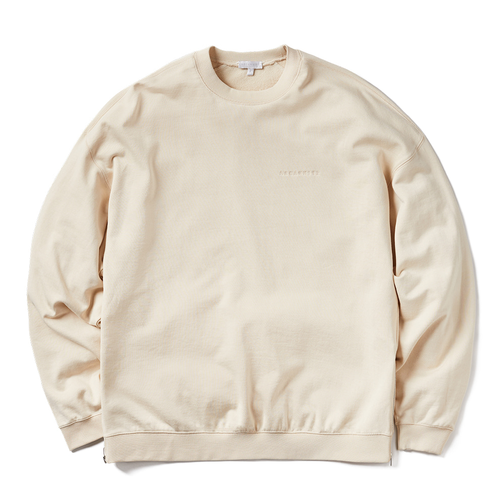 에이카화이트 WIDE DOUBLE ZIP SWEAT_Beige