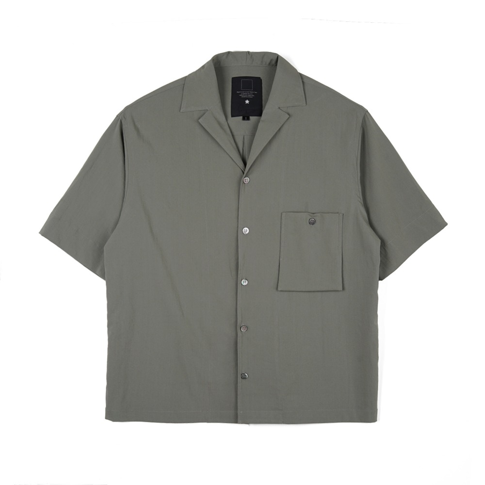 오파츠 Simple open-collar Pocket shirts_Olive