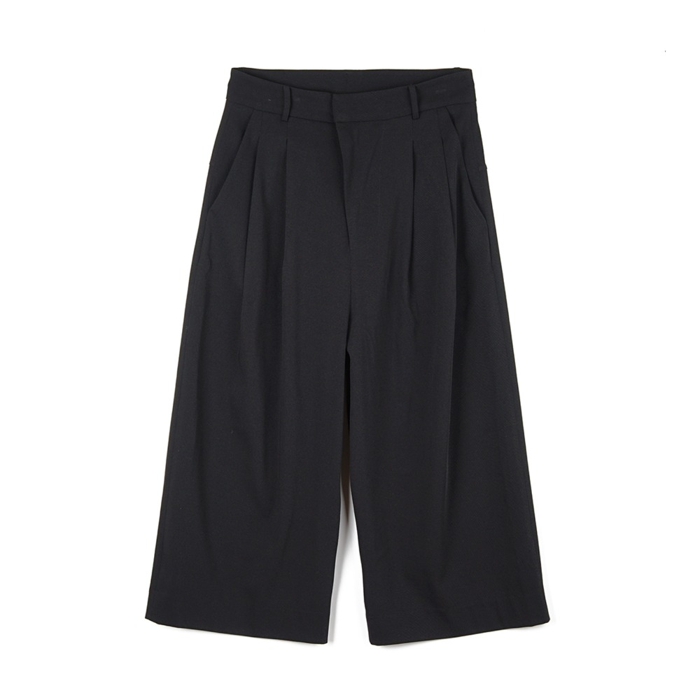 오파츠 Two Pleats Wide-leg Pants_Black