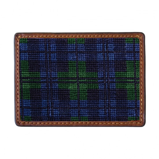 SMATHERS&BRANSON Black Watch Needlepoint Card Wallet