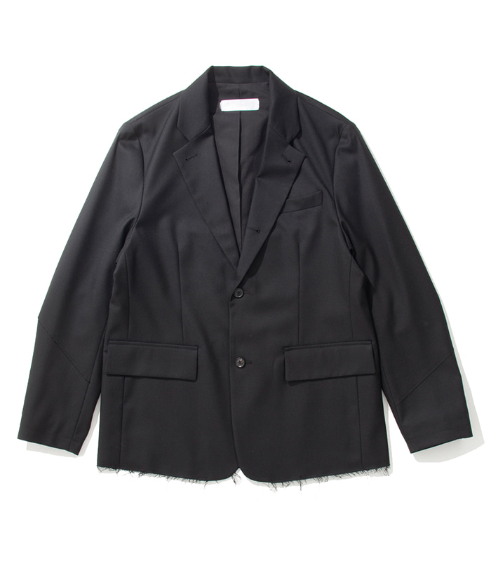 가쿠로 NOTCH LAPEL 3B JACKET Double cloth wool (Black)