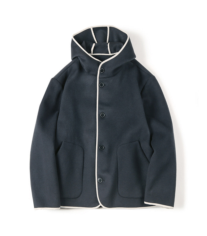 셔터 REVERSIBLE HOODED WOOL JACKET (Dark blue)