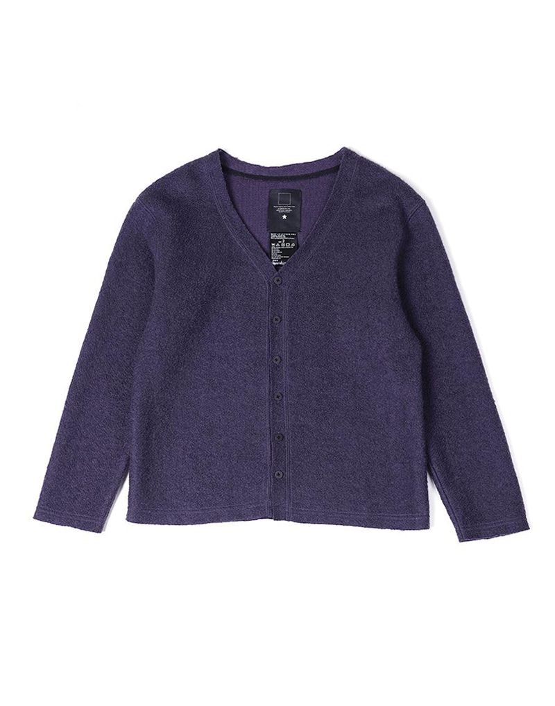 오파츠 Fleece cut-off cardigan (Purple)